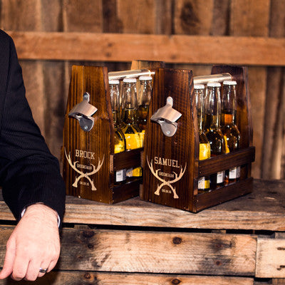 Personalized Groomsman Antlers Rustic Craft Beer Carrier with Bottle Opener