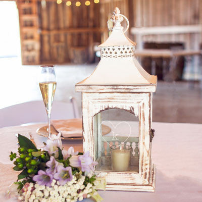 Personalized Rustic Heart Centerpiece Lantern