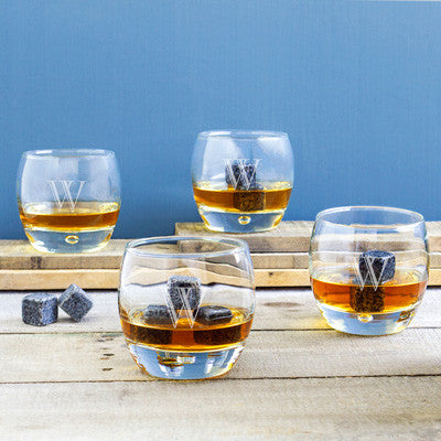 Personalized Heavy Based Whiskey Glasses with Whiskey Soapstones