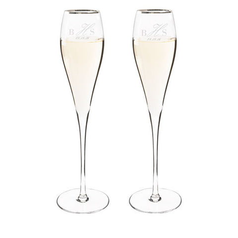Personalized 7 oz. Silver Rim Champagne Flutes (Set of 2)