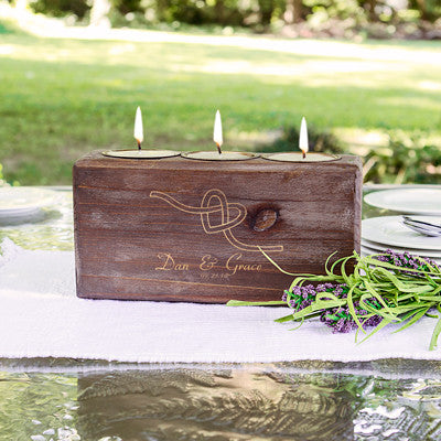 Personalized Tie the Knot Wood Sugar Mold Candle Holder