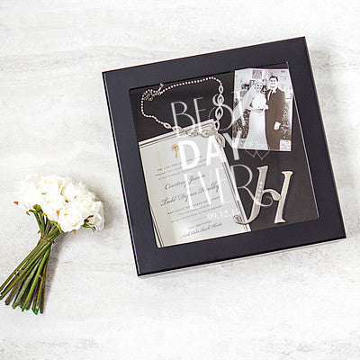 Personalized Best Day Ever Black Wedding Wishes Keepsake Shadow Box