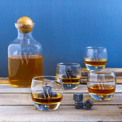 Personalized Whiskey Decanter with Wood Ball Set & Whiskey Soapstones