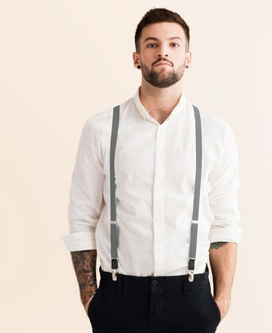 Cool Steel - Skinny Grey Suspenders
