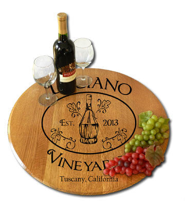 Personalized Oak Barrel Lazy Susan - Chianti Bottle