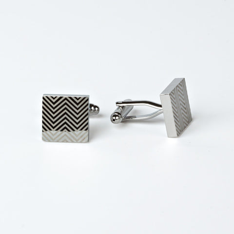 Groomsmen's Weave Rhodium Plated Cufflinks with Engraved Box