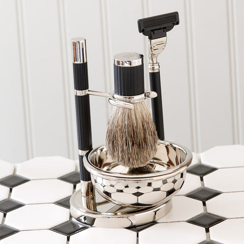 Silver-Plated-Matte Black Shaving Set with Mach3 Razor