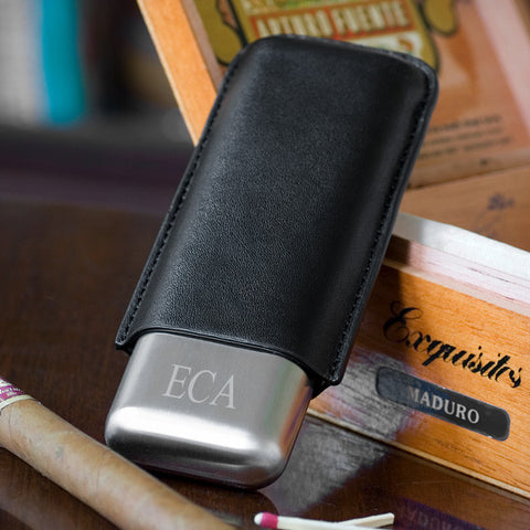Stainless Double Cigar Holder In Black Leather