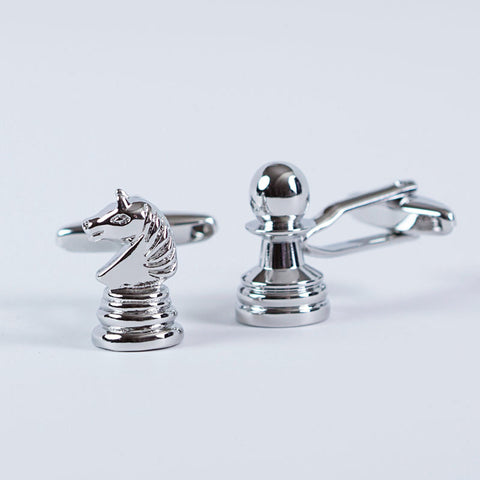 Rhodium Plated Endgame Cufflinks with Engraved Box