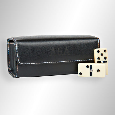 Personalized Travel Leather Domino Set