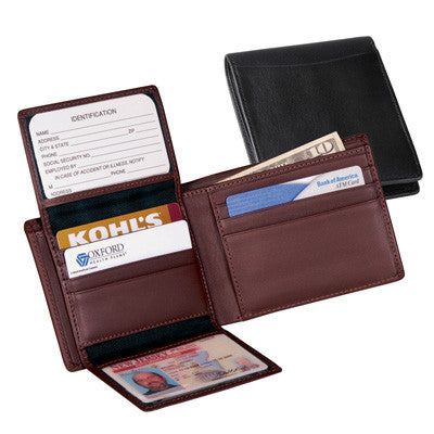 Personalized nappa leather bi fold wallet with 2 id windows for 2 id window wallet
