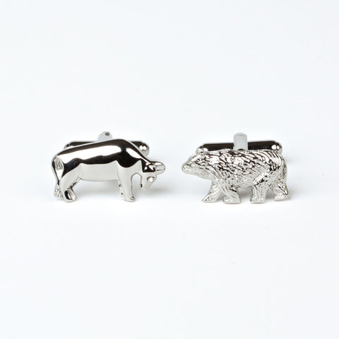 "Rhodium Plated ""Bull and Bear"" Cufflinks with Engraved Box"