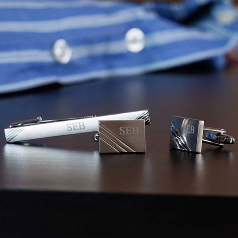 Rhodium Plated Satin Finish Striped Cufflink & Tie Pin Set