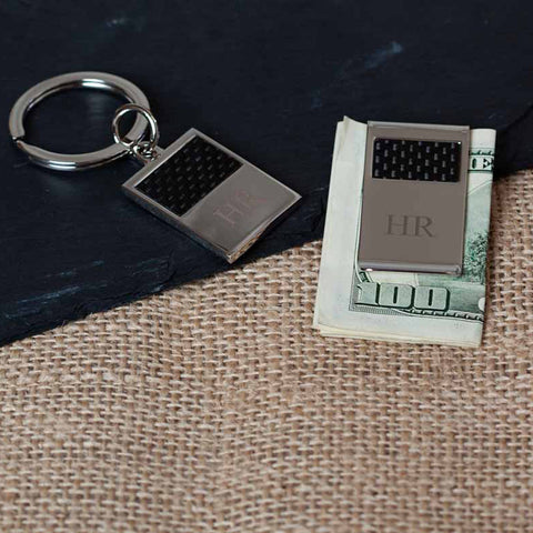 Benton Silver and Carbon Money Clip & Key Ring Gift Set
