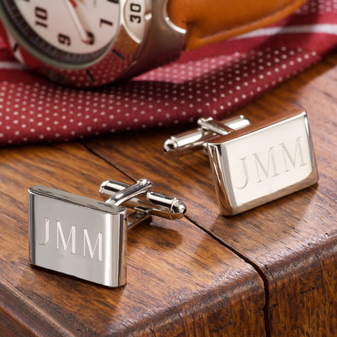 Luxe Rectangular Rhodium Cufflinks