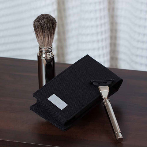 Harmon Personalized Chrome Travel Shave Set in Black Canvas Case