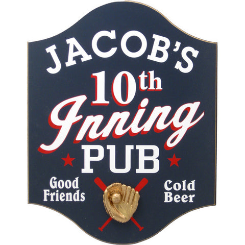 "Personalized ""10th Inning"" Pub Sign"