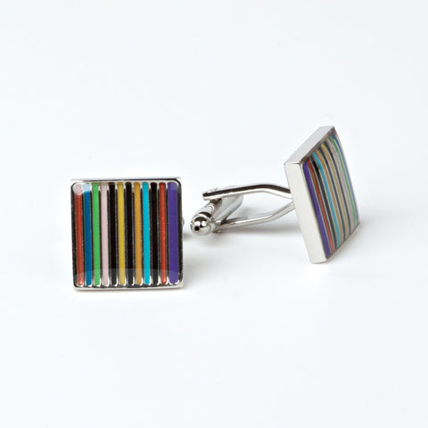 Rhodium Plated Collage of Colors Cufflinks with Engraved Box