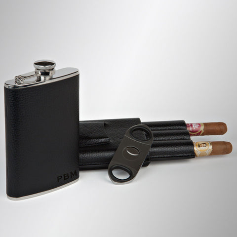 Personalized Flask, Triple Cigar Case & Cutter Set