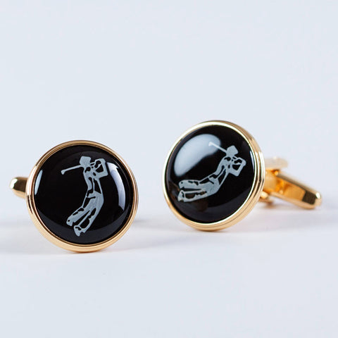 Golfer Gold Plated Cufflinks