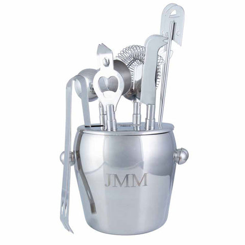 Personalized Stainless Steel Seven Piece Ice Bucket Set