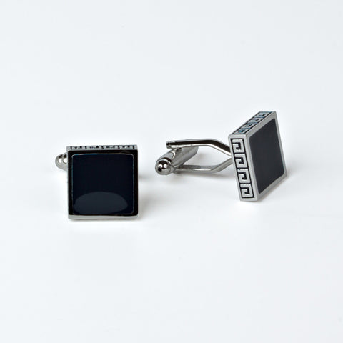 Groomsmen's Rhodium Plated Greek Key Cufflink with Engraved Box