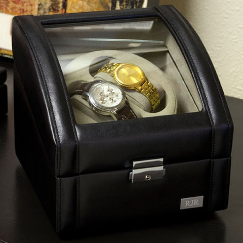 Personalized Two Watch Winder with Glass Face