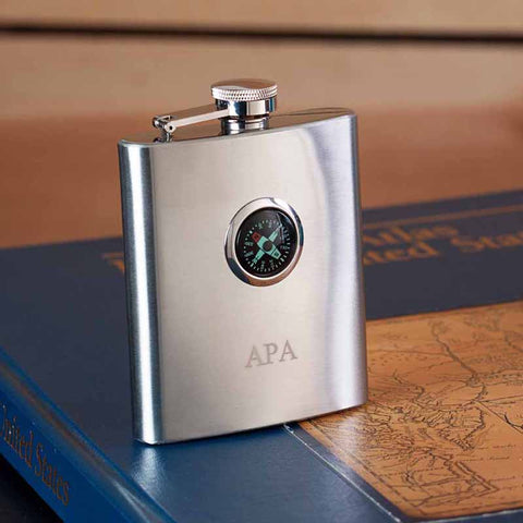 Personalized Stainless Steel Compass Flask