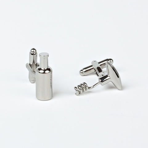 Rhodium Plated Wine Inspired Cufflinks with Engraved Box