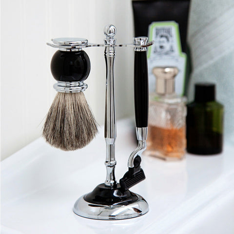 Black Enamel Shaving Set
