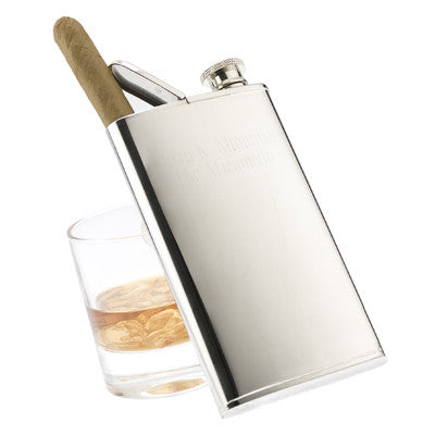Personalized Chrome Plated Flask w/ Cigar Holder