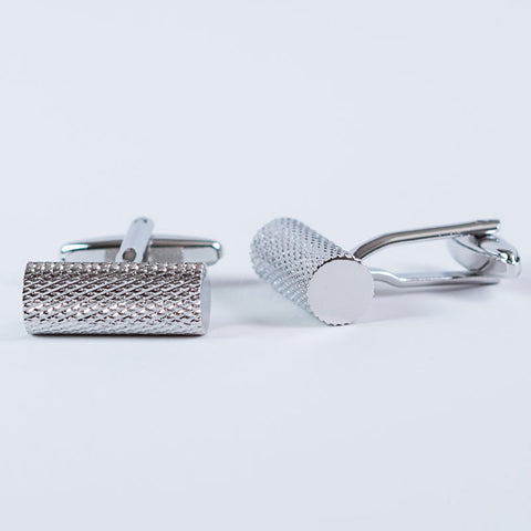 Rhodium Plated Etched Round Bar Cufflinks