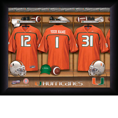 Personalized College Football Locker Room Sign - Miami Hurricanes