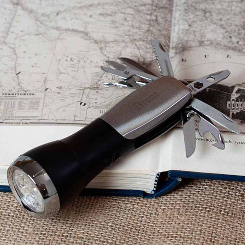 Mason Engraved Multifunctional Brushed Stainless Steel Flash Light