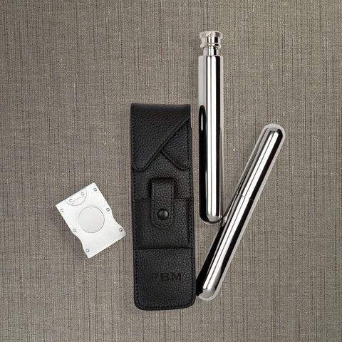 Luxe Three Piece Cigar and Flask Kit
