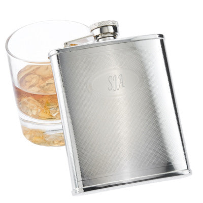 Engraved Textured Medallion Flask