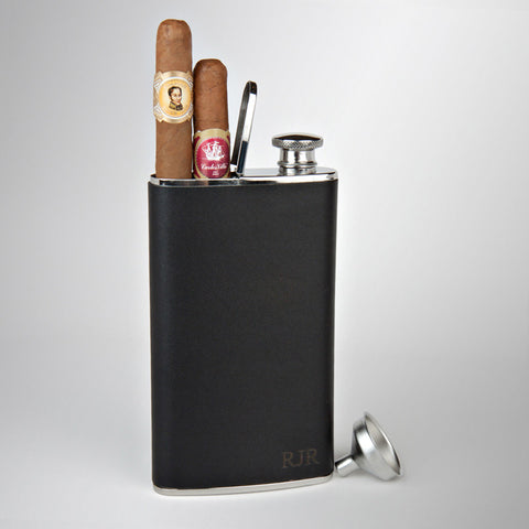 Stainless Steel & Leather Flask with Cigar Holder