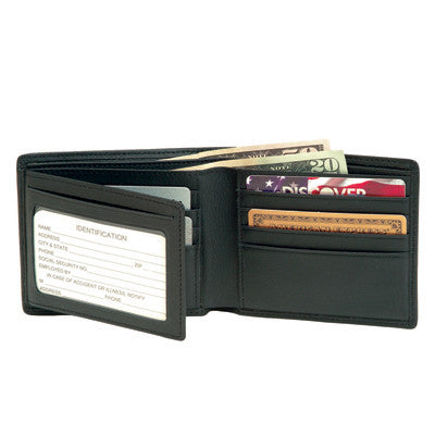 Personalized Nappa Leather Trifold Wallet with ID Flap