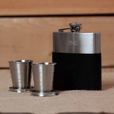 Stainless Steel Black Leather Flask with Shot Glass Set
