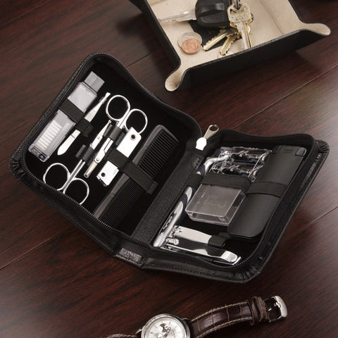 Eleven Piece Leather Manicure and Shave Set