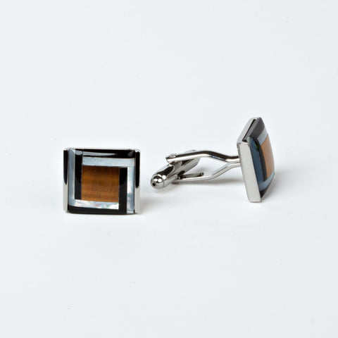 Groomsmen 'Black and Tan' Rhodium Plated Cufflinks with Engraved Box