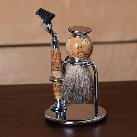Hudson Engraved Chrome and Tan Stone Shave Set
