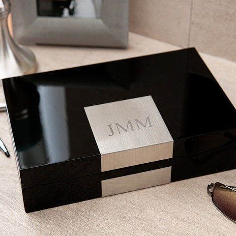 Personalized Lacquered Valet Box in Black