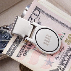 Silver Plated Round Face Money Clip