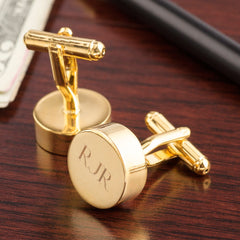Gold Plated Round Cufflinks