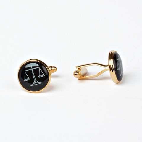 Gold Plated Legal Scales Cufflinks with Engraved Box