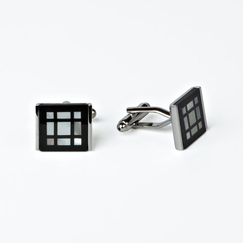 Rhodium Plated Window Pattern Cufflinks with Engraved Box