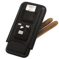 Personalized Triple Cigar Holder with Lighter & Cutter in Black