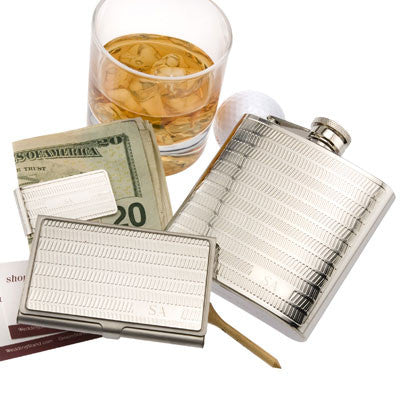 Personalized 3-Piece Flask, Business Card & Money Clip Set