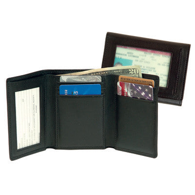Personalized Nappa Leather Trifold Wallet with Double ID Window